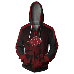 Unisex Hoodies Naruto Zip Up 3D Print Jacket Sweatshirt