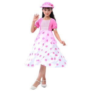 Kids Girls Toy Story Little Bo Peep Cosplay Dress Halloween Costume
