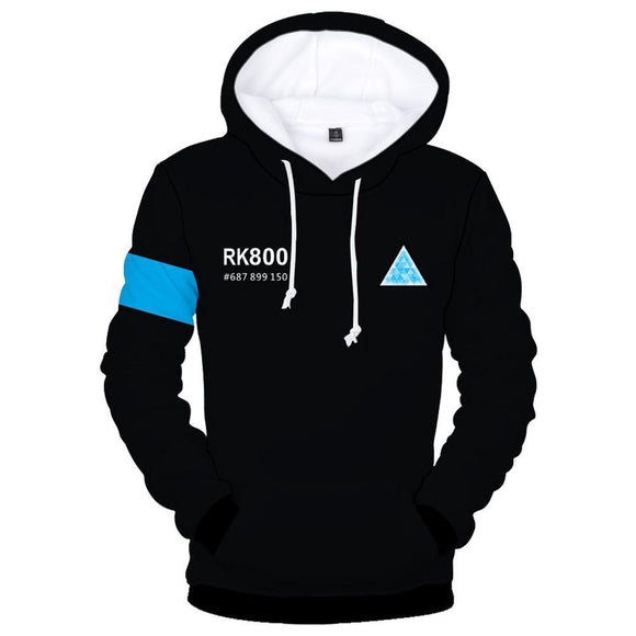 Unisex Connor RK800 Hoodies Detroit Become Human Pullover 3D Print Sweatshirt