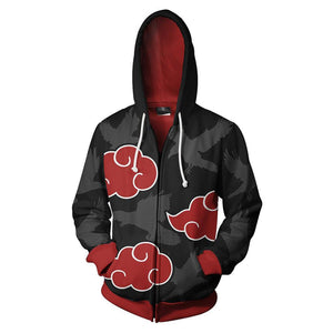 Unisex Uchiha Itachi Hoodies Naruto Zip Up 3D Print Jacket Sweatshirt