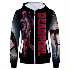 Unisex Dead Pool Hoodies Cool Aesthetic 3D Print Zip Up Jacket Sweatshirt