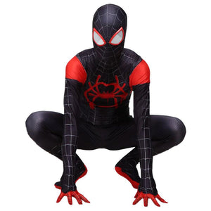 Adult Miles Morales Into The Spider-Verse Cosplay Jumpsuit Costume Zentai Bodysuit Black