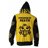 Unisex One Piece Hoodie Trafalgar Law Cosplay Hooded Zip Up Sweatshirt Cosplay Costume