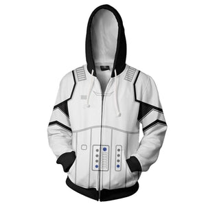 Unisex Imperial Stormtrooper Hoodies Star Wars Zip Up 3D Print Jacket Sweatshirt