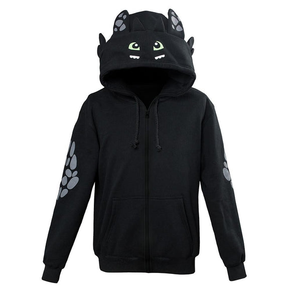 Kids How To Train Your Dragon Toothless Cosplay Hoodie 3D Printed Zip Up Sweatshirt