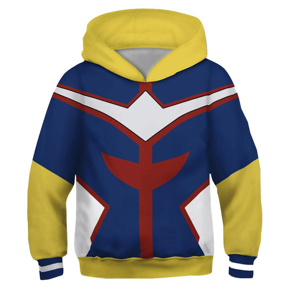 Kids All Might Hoodies My Hero Academia Pullover 3D Print Jacket Sweatshirt