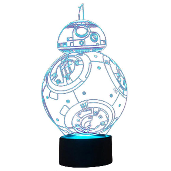 3D Illusion Lamp BB-8 Robots Night Light 3D Night Light 7 Color Changing Lights Desk Table Lamp