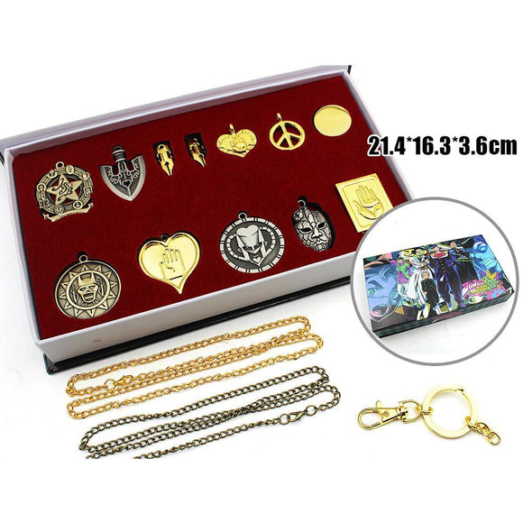 Anime JoJo's Bizarre Adventure Necklace Keychain Collection Cosplay Zinc Alloy Jewelry Accessories