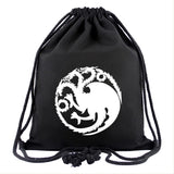 Game of Thrones Drawstring Backpack Simple Canvas Drawstring Pocket