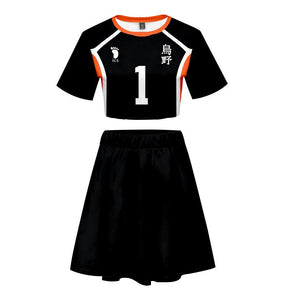 Women Haikyuu!! Karasuno High School Volleyball Club 2 Pieces Cosplay Outfits Short Sleeves Crop Top + A Line Skirt Sets