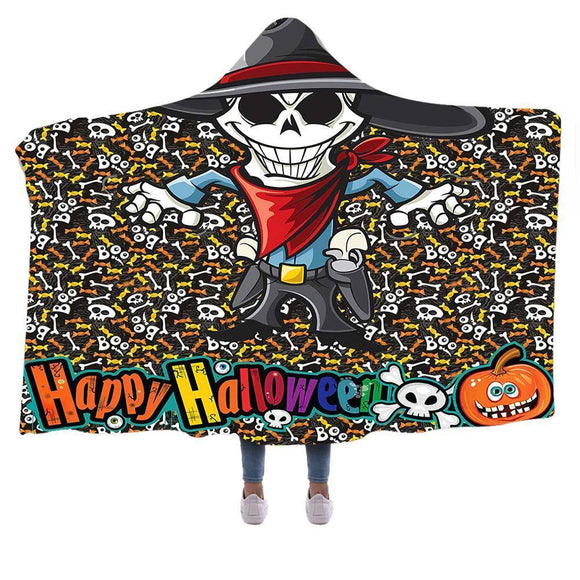 Halloween Skull Ghost Hooded Blanket Soft Warm Polar Fleece Blankets Throw Wrap
