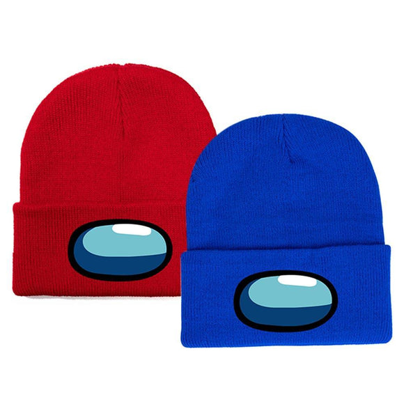 2pcs Among Us Patch Knitted Woolen Skullies Beanie Women Men Cartoon Ski Winter Cap