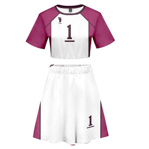 Women Haikyuu!! Ushijima Wakatoshi 2 Pieces Cosplay Outfits Short Sleeves Crop Top + A Line Skirt Sets