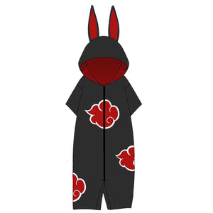 Anime Naruto Cosplay Akatsuki Uchiha Itach Adult Flannel Pajamas Bathrobe Hooded Pajamas Rabbit Ear Onesies Suit