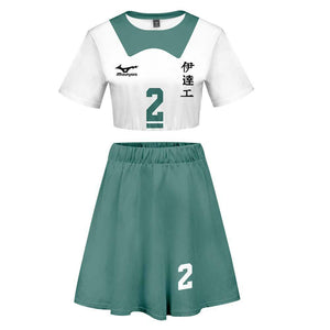 Women Haikyuu!! Moniwa Kaname 2 Pieces Cosplay Outfits Short Sleeves Crop Top + A Line Skirt Sets