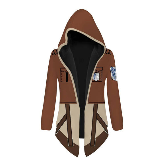 Unisex Attack on Titan Cosplay Jacket Trench Coat Robe Survey Corps Cloak Halloween Costume Hooded Cape Coat