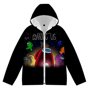 Unisex Among Us Winter Thick Clothes Sweatshirt Velvet Clothing Zip Up Hoodie Cashmere Warm Outfits