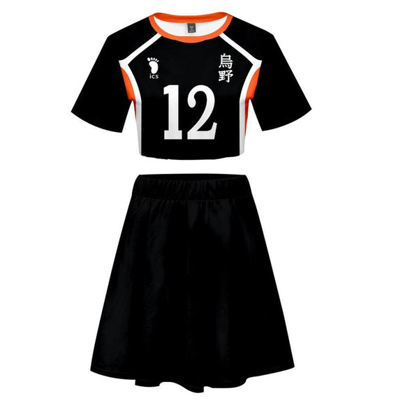 Women Haikyuu!! Tadashi Yamaguchi 2 Pieces Cosplay Outfits Short Sleeves Crop Top + A Line Skirt Sets