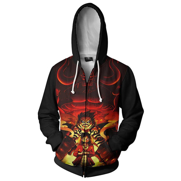 Unisex One Piece Hoodie Monkey D. Luffy Printed Cosplay Hooded Zip Up Sweatshirt