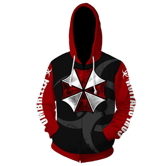 Unisex Resident Evil Hooded Coat Umbrella Corporation Zip Up Long Sleeve Hoodies Sweatshirt
