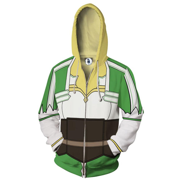 Unisex Leafa Kirigaya Suguha Cosplay Hoodies Sword Art Online Zip Up 3D Print Jacket Sweatshirt