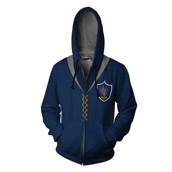 Unisex Harry Potter Hoodies Ravenclaw Quidditch Uniform Cosplay Zip Up Sweatshirt Outfit Casual Outerwear