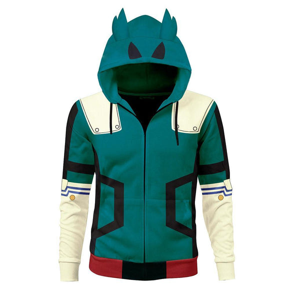 Unisex Midoriya Izuku Battle Suit Cosplay Hoodies My Hero Academia Zip Up 3D Print Jacket Sweatshirt