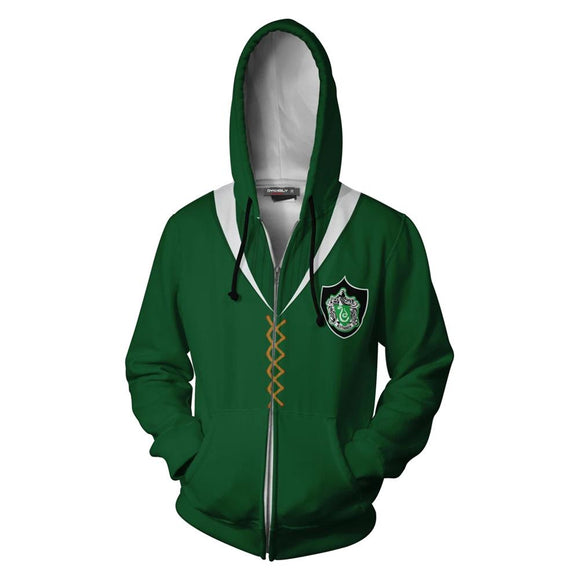 Unisex Harry Potter Hoodies Slytherin Quidditch Uniform Cosplay Zip Up Sweatshirt Outfit Casual Outerwear