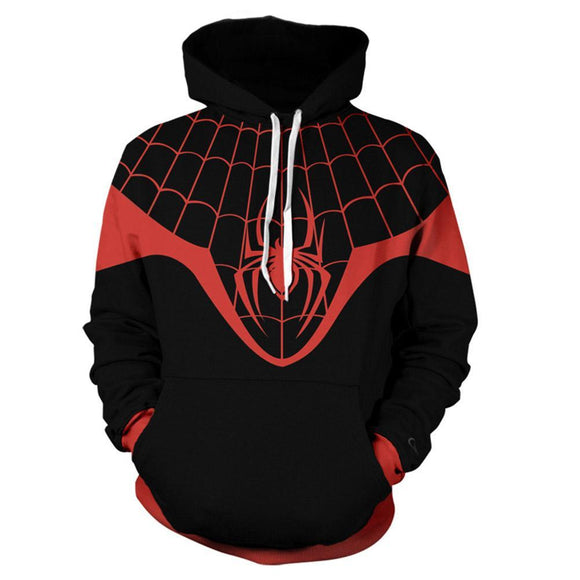 Unisex 2020 Game Spider-Man Hoodies 3D Print Pullover Sweatshirt Outfit Miles Morales Cosplay Casual Outerwear