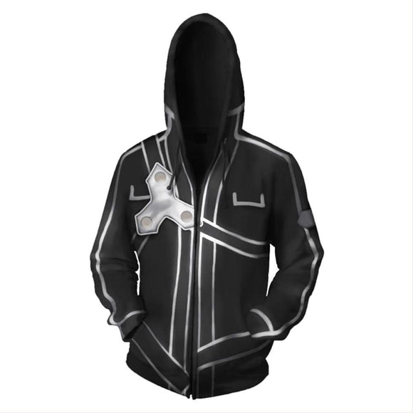 Sword Art Online Costume Halloween Anime Cosplay Zip Up Jacket Pullover Hoodie