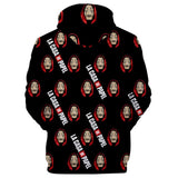 Unisex Money Heist Hoodie Dali Mask Print Pullover Top Cloth Hooded Sweatshirt