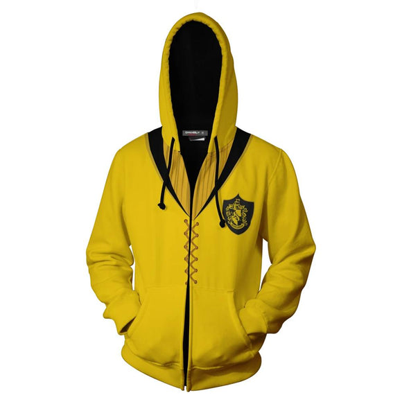 Unisex Harry Potter Hoodies Hufflepuff Quidditch Uniform Cosplay Zip Up Sweatshirt Outfit Casual Outerwear