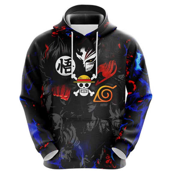 Unisex Anime Collection Hoodies Dragon Ball One Piece Naruto Printed Hooded Sweatshirt Casual Pullover Hoodie