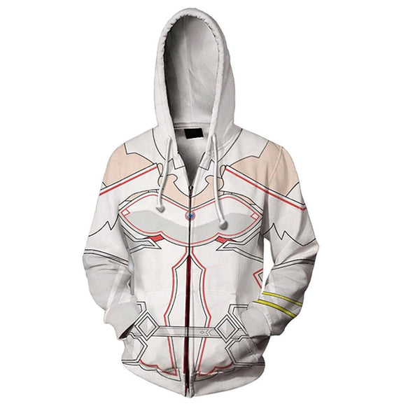 Unisex Asuna Cosplay Hoodies Sword Art Online Alicization War of Underworld Zip Up 3D Print Jacket Sweatshirt