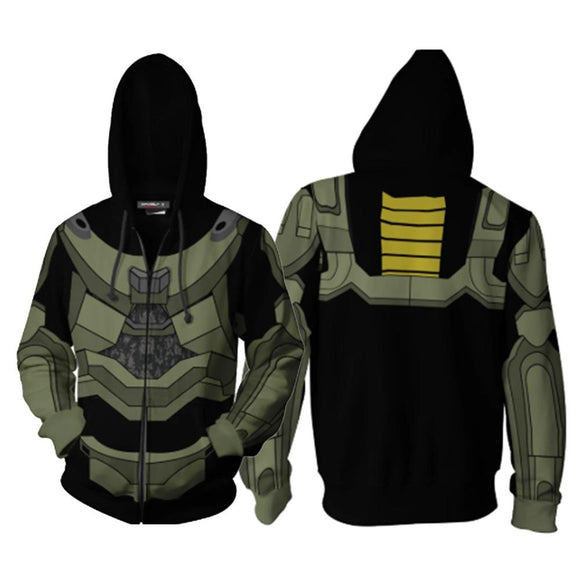 Unisex Halo 3: Recon Hoodies 3D Print Zip Up Sweatshirt Outfit Cosplay Casual Outerwear