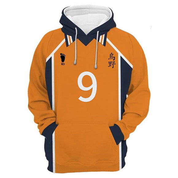 Unisex Karasuno High School Away Team Uniform Kageyama Tobio Cosplay Hoodies Haikyuu!! Pullover Sweatshirt