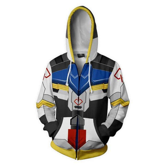 Unisex Gundam Barbatos Cosplay Hoodies Mobile Suit Gundam: Iron-Blooded Orphans Zip Up 3D Print Jacket Sweatshirt