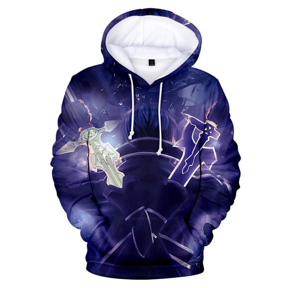 Unisex Sword Art Online Hoodies Kirigaya Kazuto Printed Novelty Hooded Pullover Sweatshirts