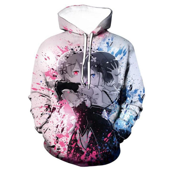 Unisex Re:Life in a different world from zero Hoodie Rem Ram Printed Cosplay Hooded Pullover Sweatshirt
