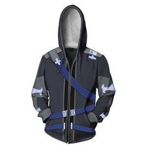 Men's 3D Printing SAO Kazuto Kirigaya Kirito Cosplay Costume Casual Zip up Hoodie Sweatshirt
