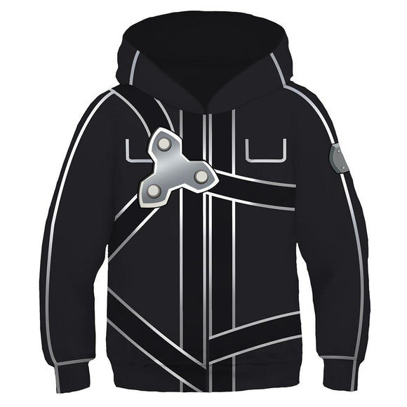 Kids Sword Art Online Kirigaya Kazuto Cosplay Hoodies Boys Girls Long Sleeve Casual Pullover Sweatshirt