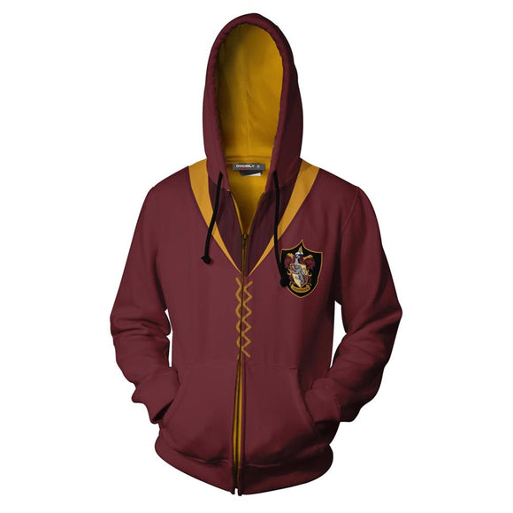 Unisex Harry Potter Hoodies Gryffindor Quidditch Uniform Cosplay Zip Up Sweatshirt Outfit Casual Outerwear