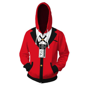 Unisex Jabami Yumeko Cosplay Hoodies Kakegurui Zip Up 3D Print Jacket Sweatshirt