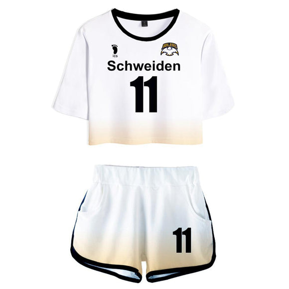 Women Haikyuu!! Ushijima Wakatoshi Schweiden Adlers Cosplay Crop Top & Shorts Set Summer 2 Pieces Casual Clothes