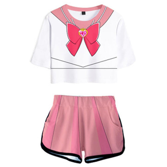 Women Sailor Moon Chibiusa Cosplay Crop Top & Shorts Set Summer 2 Pieces Casual Clothes