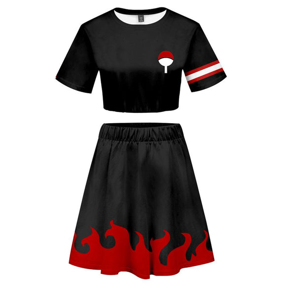 Women Naruto Uchiha 2 Pieces Cosplay Outfits Short Sleeves Crop Top + A Line Skirt Sets