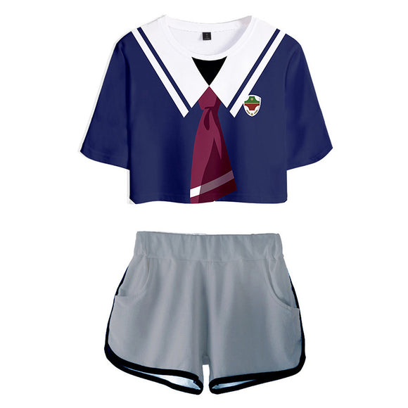 Women SK8 the Infinity Miya Chinen Cosplay Crop Top & Shorts Set Summer 2 Pieces Casual Clothes