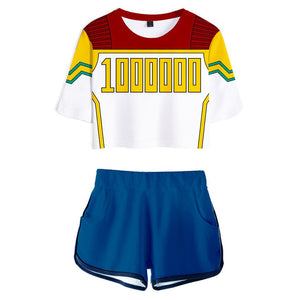 Women My Hero Academia Crop Top Sets Million Cosplay Short Sleeve T-shirt Shorts 2 Pieces Sets Casual Clothes