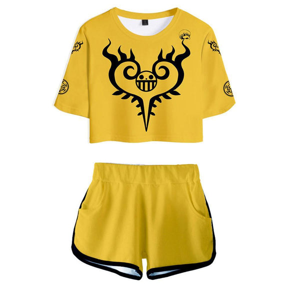 Women ONE PIECE Trafalgar Law Cosplay Crop Top & Shorts Set Summer 2 Pieces Casual Clothes