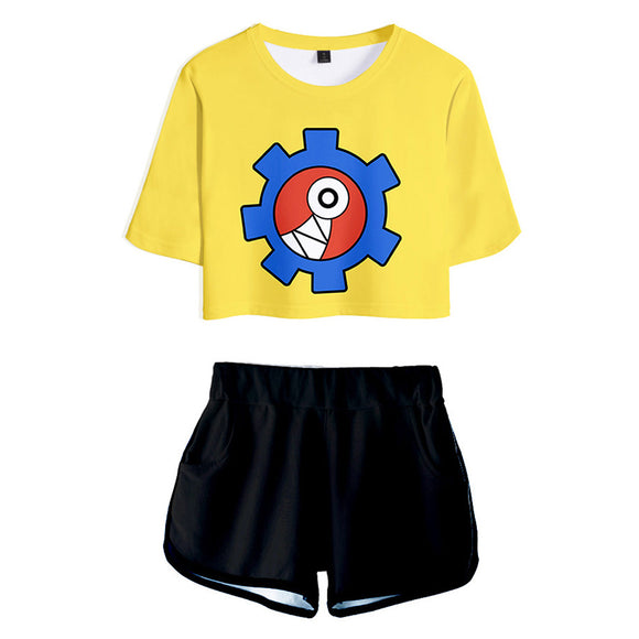 Women SK8 the Infinity Reki Kyan Cosplay Crop Top & Shorts Set Summer 2 Pieces Casual Clothes